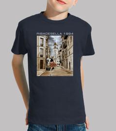 Ribadesella 1994 fondo oscuro - Camiseta para niño de manga corta