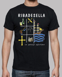 ribadesella dark background - short sleeve t-shirt