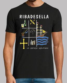 Ribadesella fondo oscuro - Camiseta de manga corta