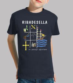Ribadesella fondo oscuro - Camiseta para niño de manga corta