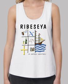 Ribeseya - Camiseta de chica de tirantes de corte extra largo y ancho
