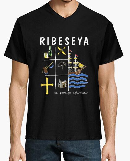 Ribeseya fondo oscuro - Camiseta cuello de pico