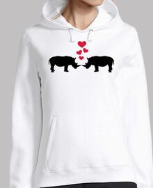 rinocerontes corazones rojos amor