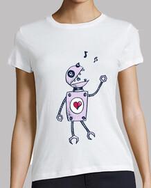 robot cantando feliz