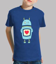 robot torpe linda con el corazón