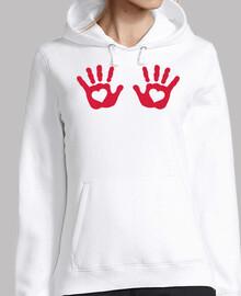 rojo bebé manos corazones