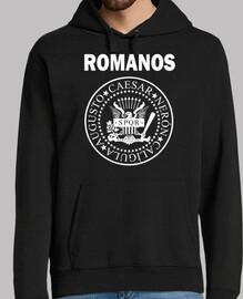 romans, ramones, homme, pull à capuche, noir