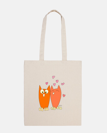 romantic couple of funny owls