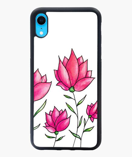 Funda iPhone XR rosa flores botánico acuarela floral