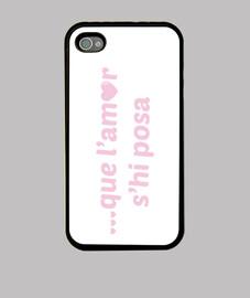 Rosa, que l amor s hi posa - Funda iPhone 4, negra
