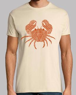 rotes krabben-zentangle- männer t-shirt