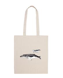 sac avec l'élevage de toile de baleine à bosse
