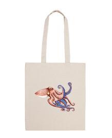 sac en tissu bleu octopus