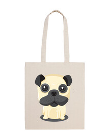 sac en tissu design de chien carlin assis