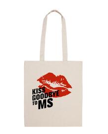 sac en tissu embrasser au revoir à plus 100% coton