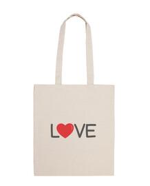 sac en tissu love , couleur naturelle