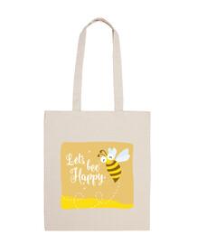 sac en tissu permet abeille heureuse