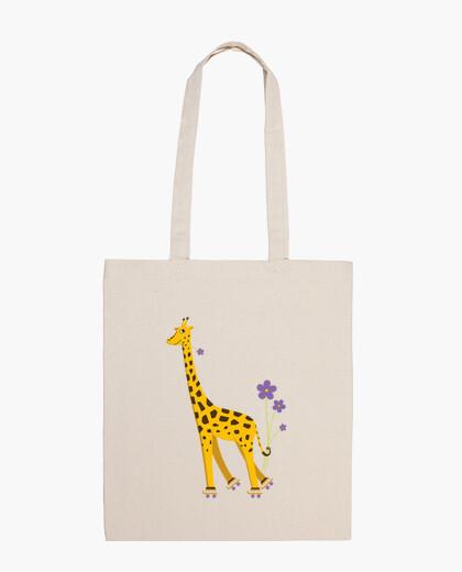 Sac girafe de bande dessinée de patinage...