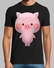 sad pig piglet cries farm animal