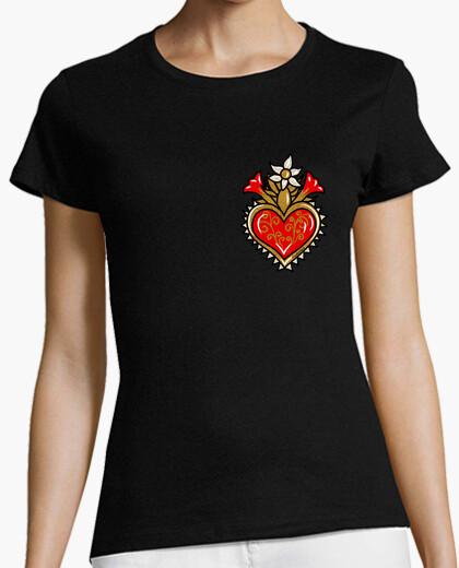Camiseta Sagrado corazón - flores