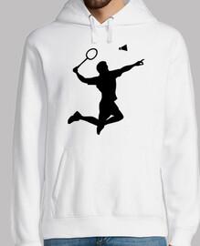 salto de jugador de bádminton