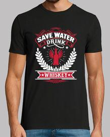 salva el agua beba whisky divertida whiskey shirt
