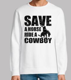 Salva un caballo monta un vaquero