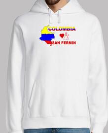 San Fermin COLOMBIA Hombre, jersey con capucha, blanco