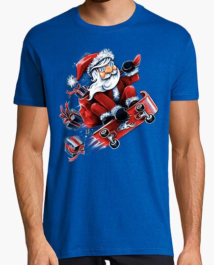 T-shirt santa skateboard