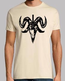 Satánico Cabra Cabeza con Cruz (negro