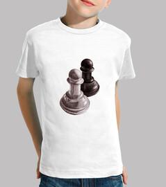 scacchi in bianco e nero pedine bambini tee