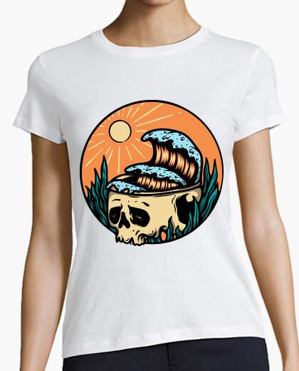T-Shirt Schädel und Welle