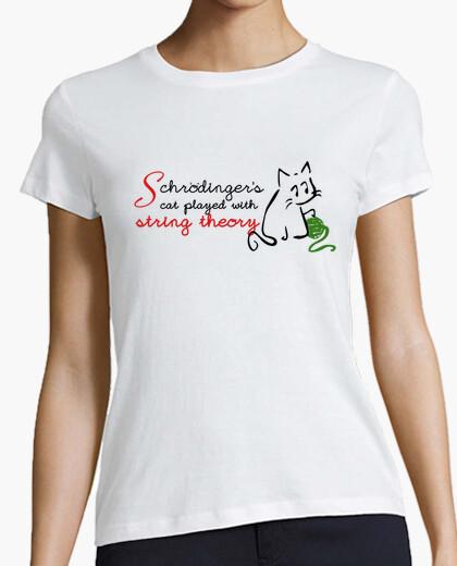 Tee-shirt schrödingers chat joue avec la théorie des cordes