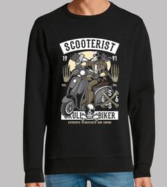 scooterist skull motard