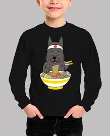 scottish terrier dog eating ramen