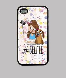 Selfie niña perro - Funda Iphone 4/4S