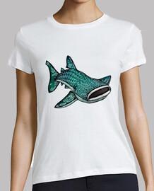 señoras de ballenas tiburón camiseta