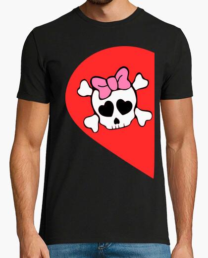 Camiseta Set x2 pareja CALAVERA MITAD ELLA . Solo disponible en latostadora