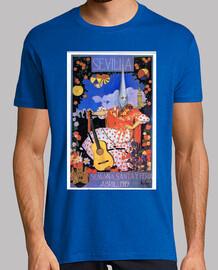 Sevilla 1919 camiseta Hombre, manga corta, azul royal, calidad extra