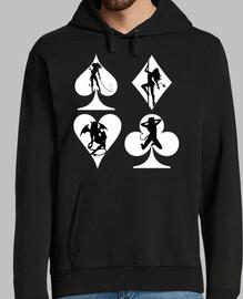 Sexy Poker - Hombre, jersey con capucha, negro