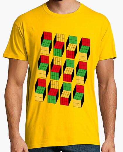 T-shirt sheldon cooper - cubo di rubik illusione ottica