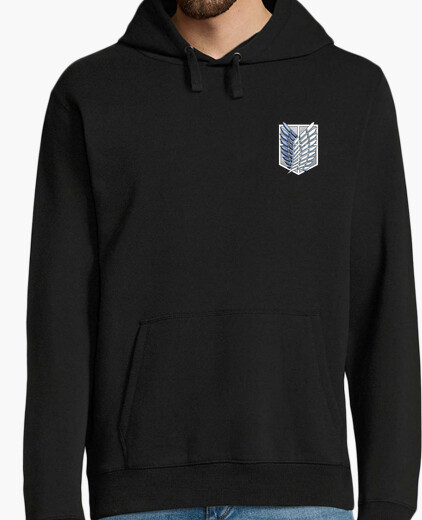 Shingeki kyojin no logo in front and behind hoody