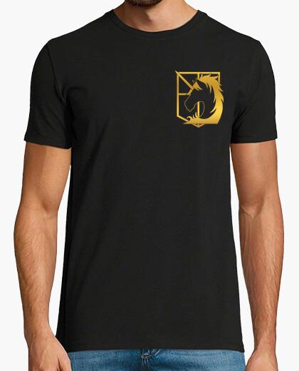 Tee-shirt Shingeki police militaire - or avant de logos et de retour