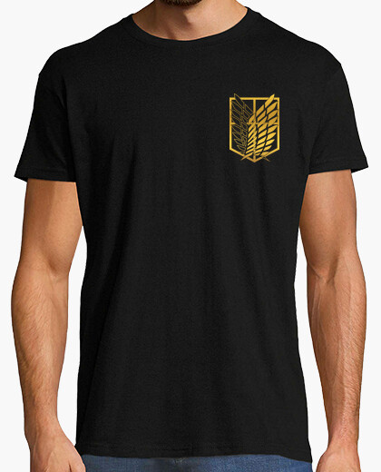 Shingeki survey corps - gold, logos front and back t-shirt