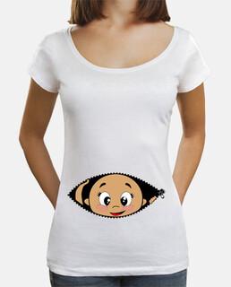 shirt bébé peekaboo jeter un oeil, col large et coupe ample, blanc