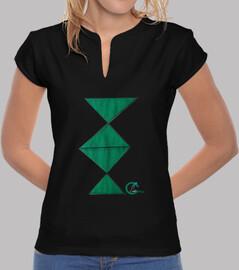 shirt cercle ares m / femme courte col mandarin noir design libre logo et vert