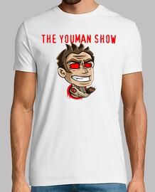 shirt. channel logo youman the show, man manga short