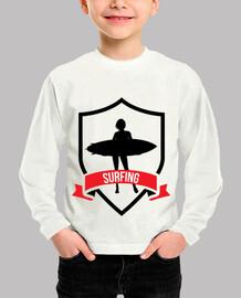 shirt child surfing, short sleeve, white