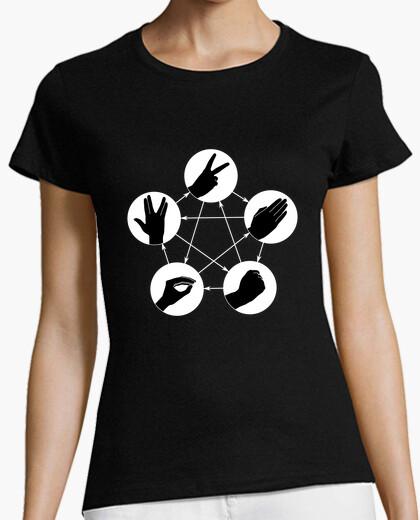 Tee-shirt shirt de  femme  de roche papier ciseaux lézard spock