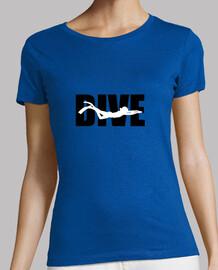 shirt diving woman, dark gray, best quality